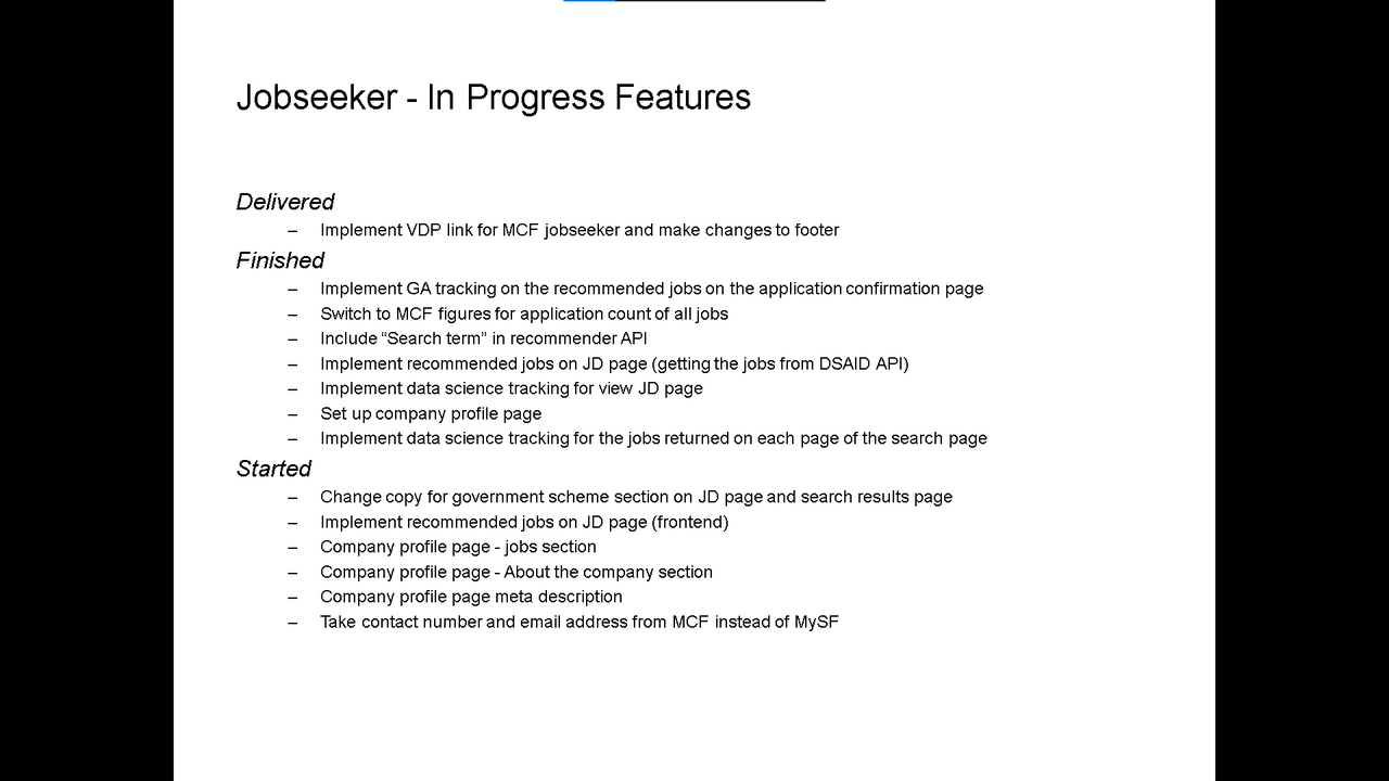 Sprint 63 slide for in-progress Jobseeker feature stories. Refer to the markdown source above for its contents